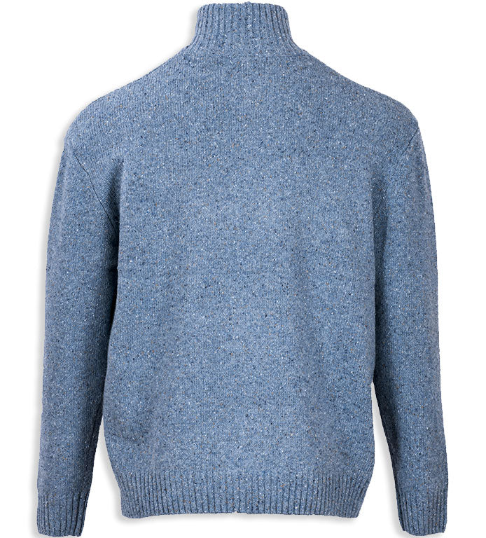 rear view Aran Wool Zip Neck Sweater