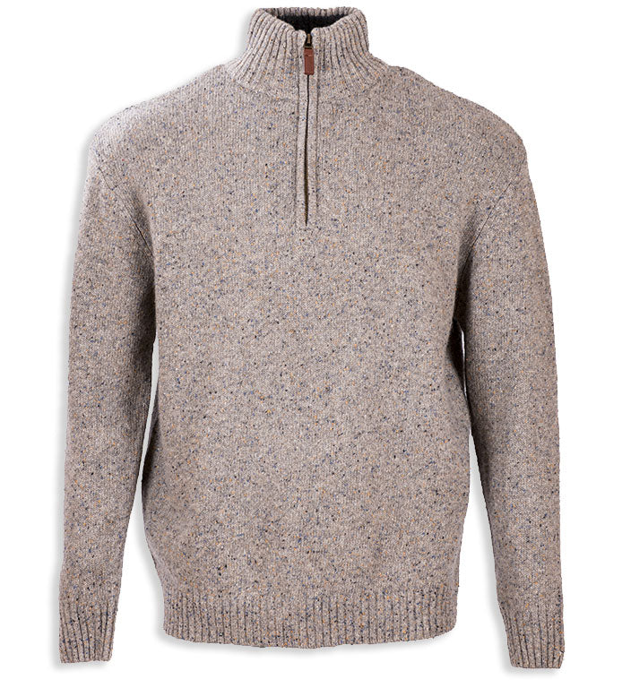 Beige Aran Wool Zip Neck Sweater