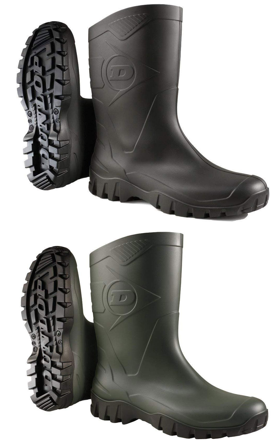 Dunlop Dee Low Leg Wellington Boots W116EX Green & Black