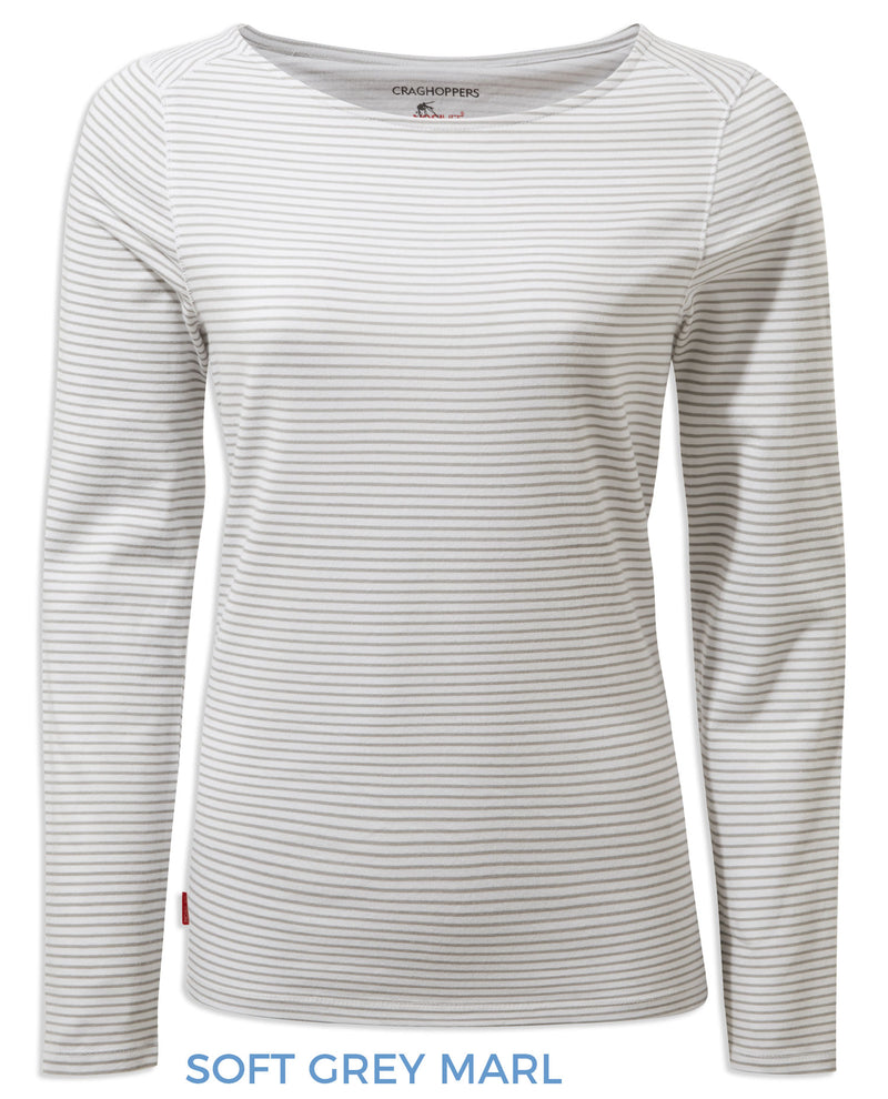 Craghoppers NosiLife Erin Ladies L/S Top | Soft Grey Marl Stripe