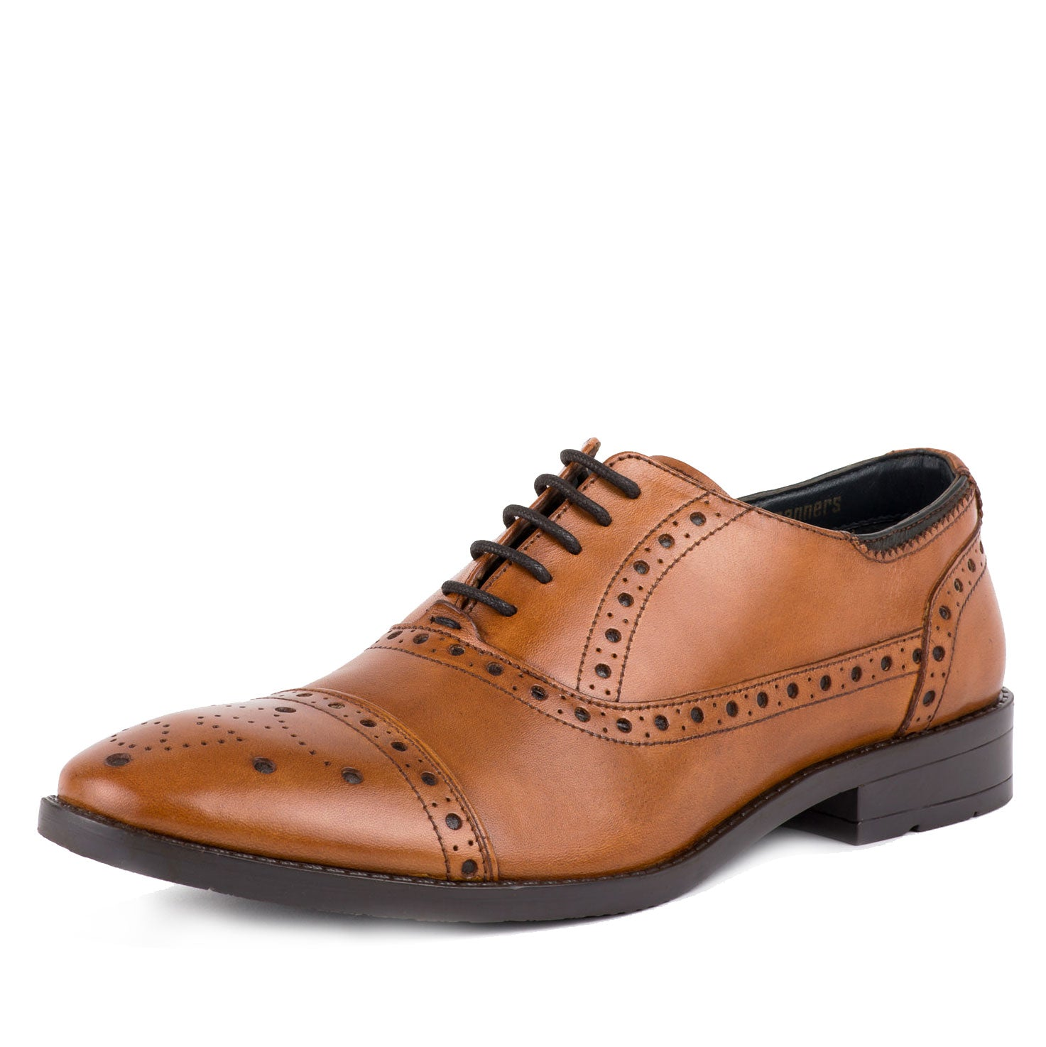 Tan Leather Brogue Shoe by Goodwin Smith