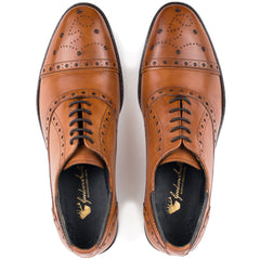 Rich tan leather Classic Oxford shoe in a subtle Semi Brogue