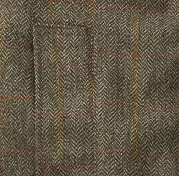 Green herringbone tweed swatch