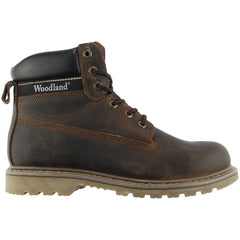 Woodland 6 Eye Utility Boot has a high quality brown waxy leather upper