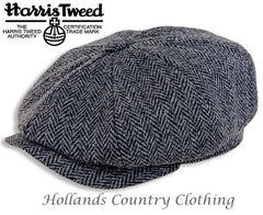 Scott Eight Panel Baggy Button Tweed Cap in Black and Grey Herringbone side view