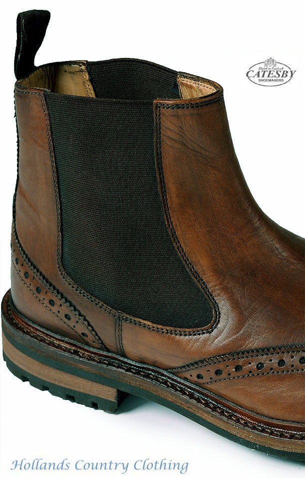 showing elastic gusset Rich Brown Leather Upper Commando Style Sole Elastic Gusset Brogue Dealer Boot
