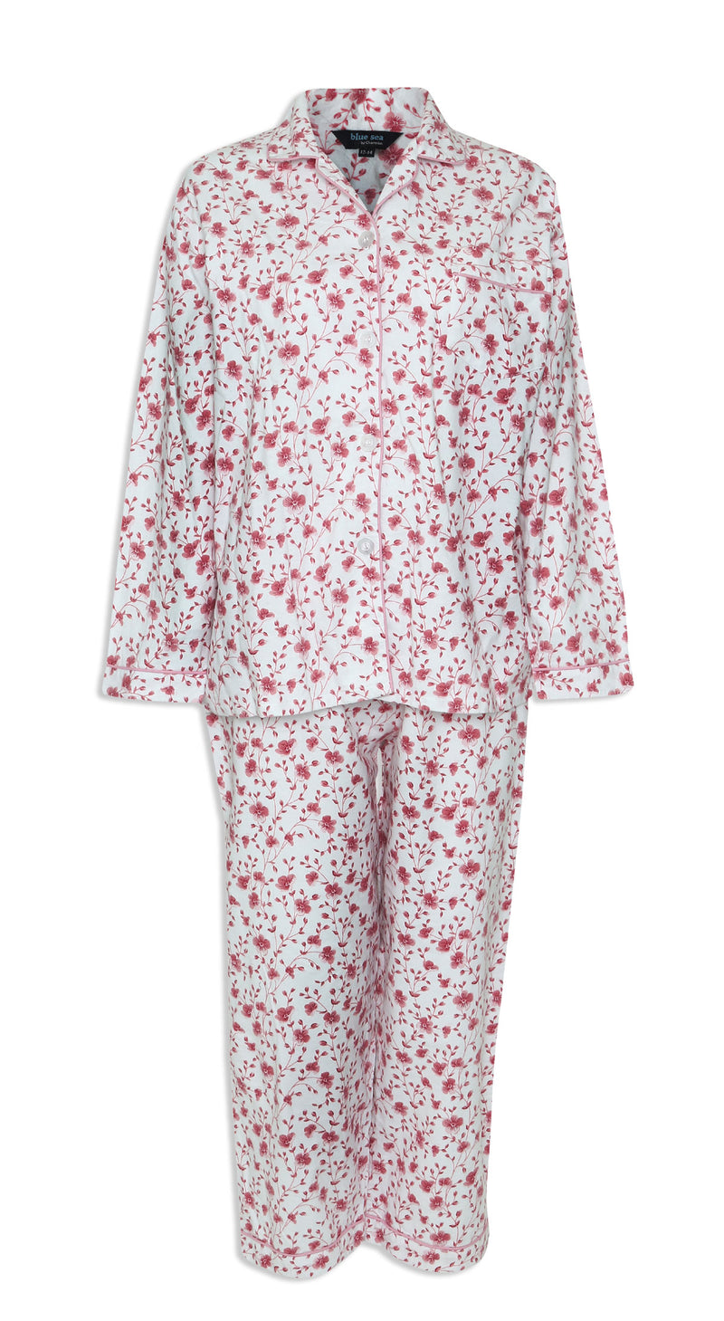 front Champion Ladies Eleanor Pyjamas pure cotton floral print pink