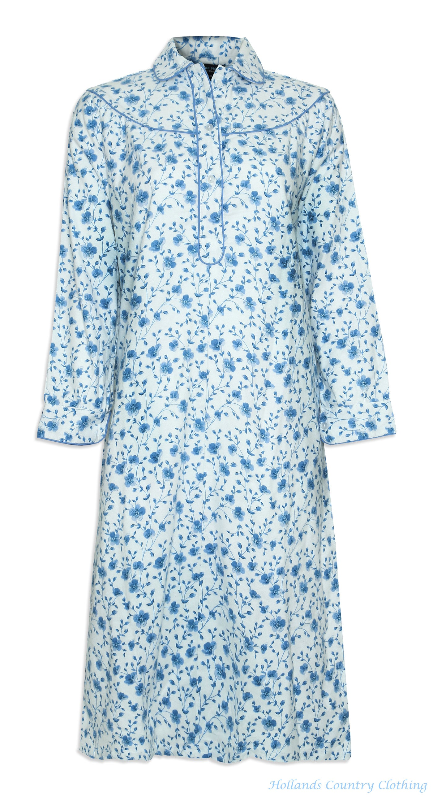 front view Champion Ladies Eleanor Floral Nightdress cotton in blue and pink flower pattern