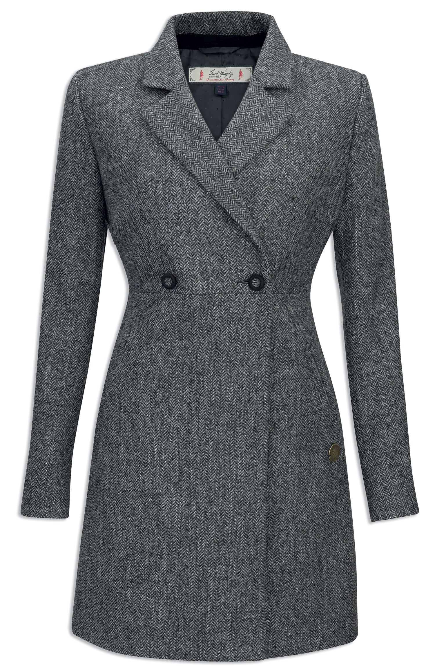 Jack Murphy Elena Tweed Coat - Black Herringbone