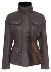 Champion Ellon Ladies Wax Cotton Jacket in brown biker
