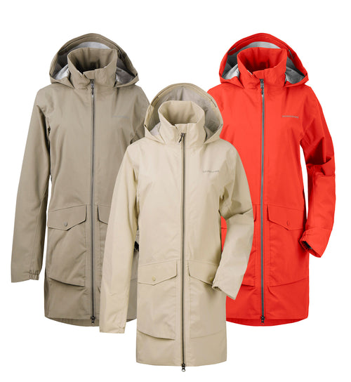 Didriksons Elvira Waterproof Parka | Mistel Green, Light Beige, Poppy Red