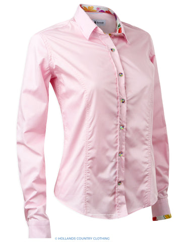 Hartwell Emma Cotton Shirt | Perfect Pink with floral trim