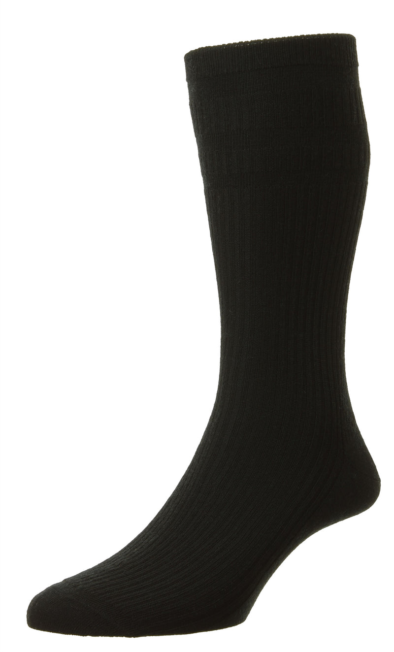 Black HJ Hall Extra Wide Soft Top Sock | Sanitised Wool