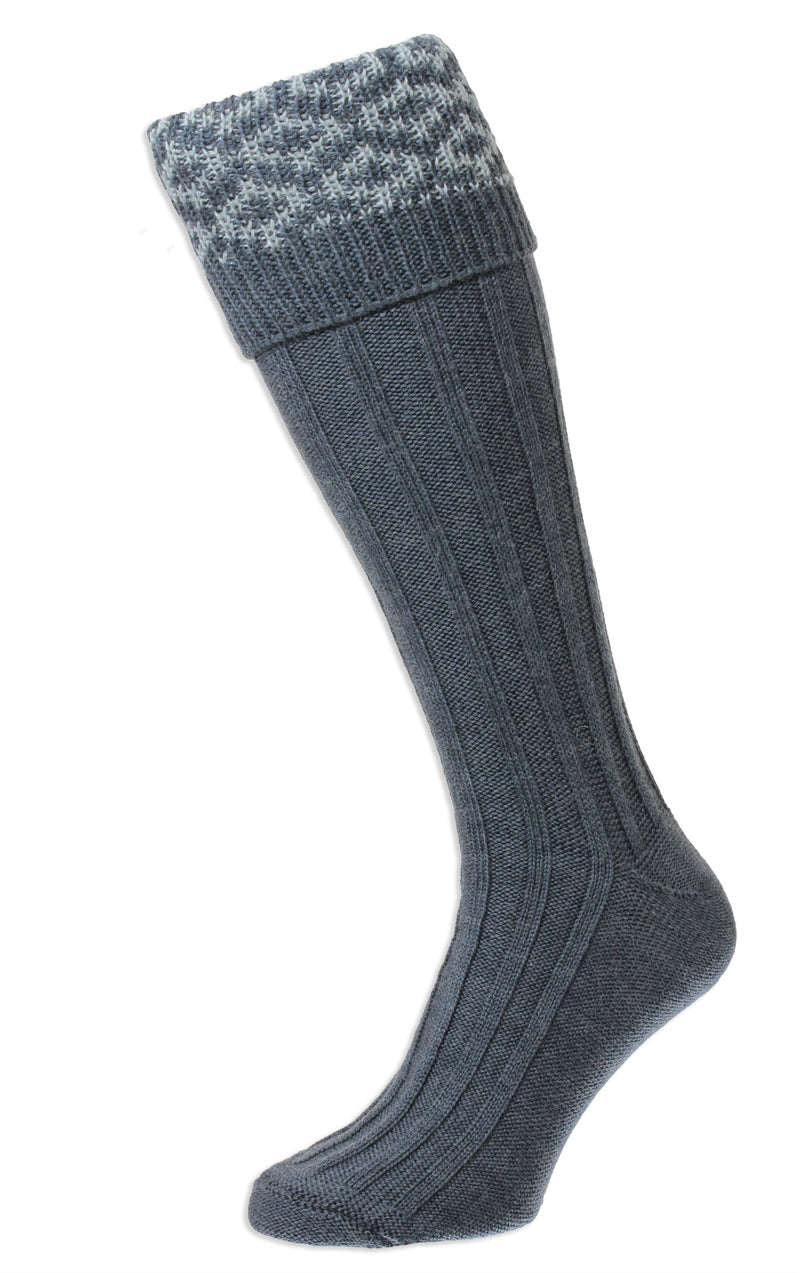 HJ Hall Cushion Foot Long Sock | Patterned Top