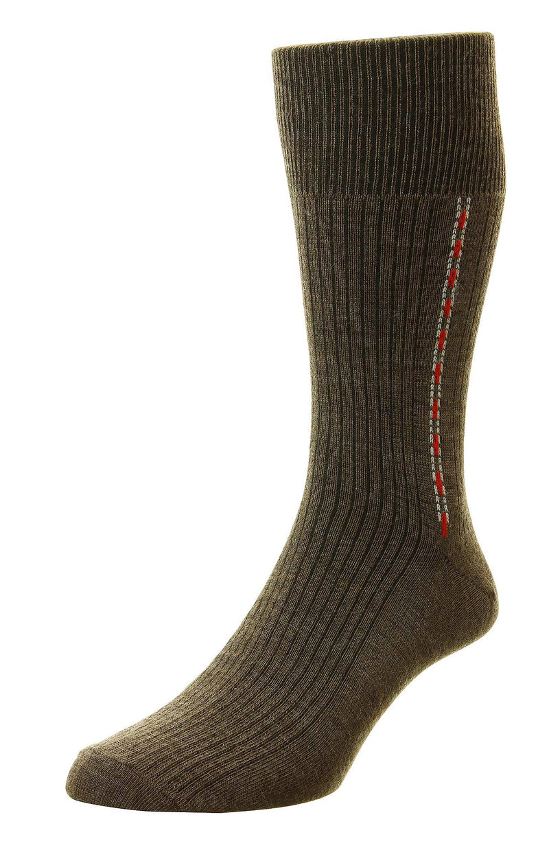 HJ Hall Fancy Panel Half Hose Classic Sock | Brown