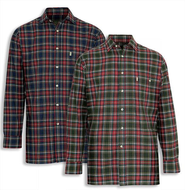 Champion Farleigh 100% Tartan Cotton Work Shirt in blue and green
