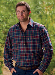 man wearing a country work shirt