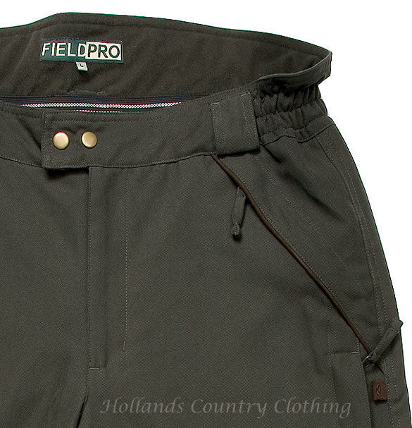 Hoggs of Fife Ranger Waterproof Field Trousers pockets and waist detail green