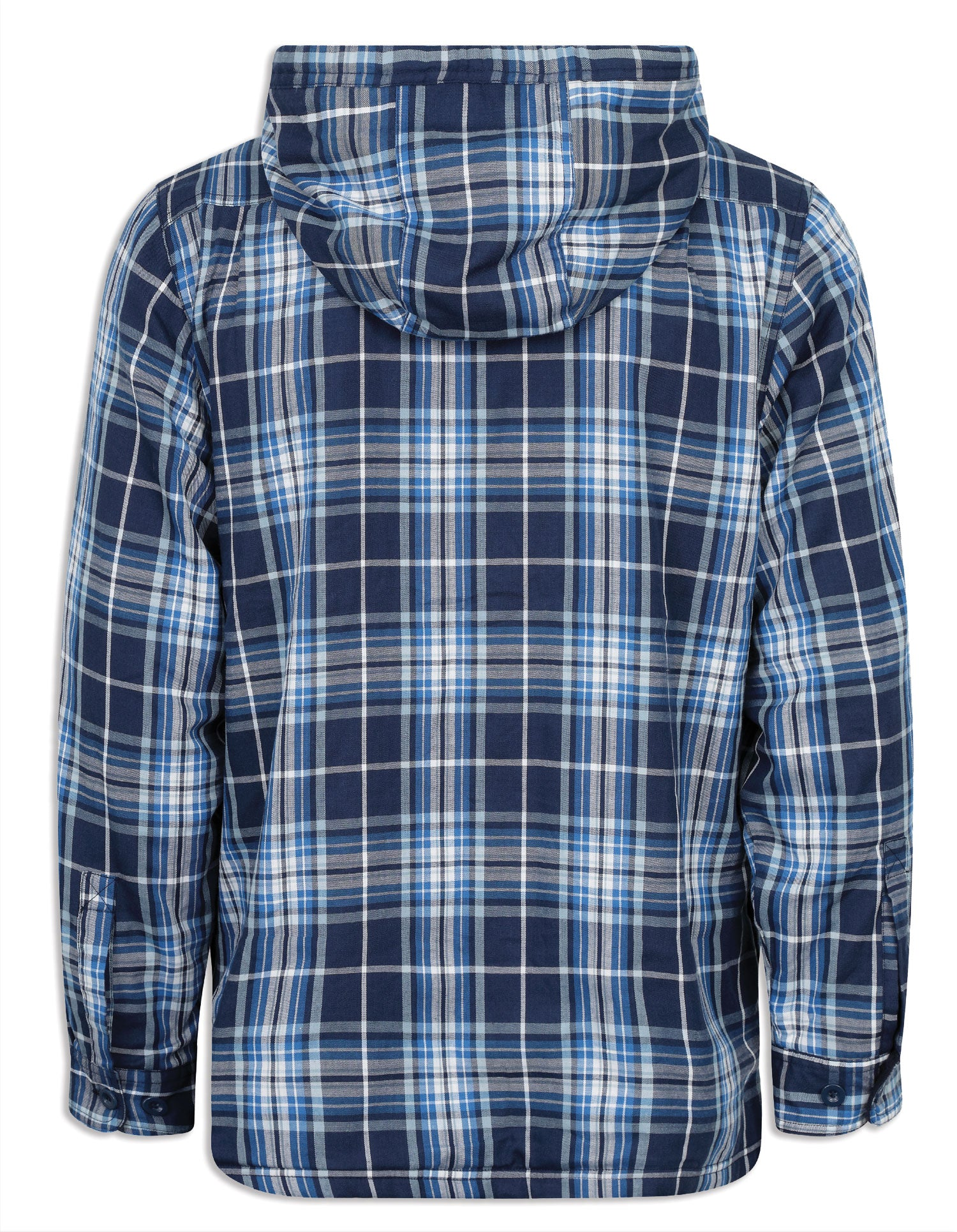 Champion Blue Tartan Check Merrow Micro Fleece Lined Hoodie