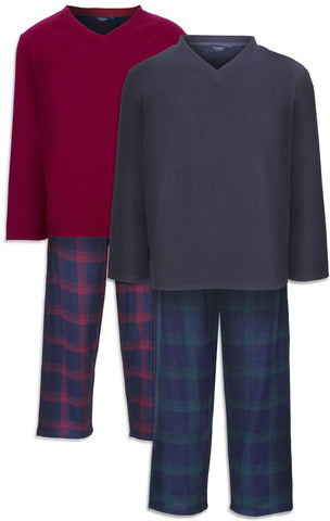 Champion Newquay Lounge Suit in red and navy fleece with tartan pj bottoms