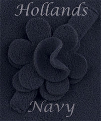 navy fleece swatch with rose
