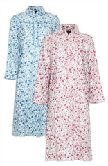 Champion Ladies Eleanor Floral Nightdress cotton in blue and pink flower pattern