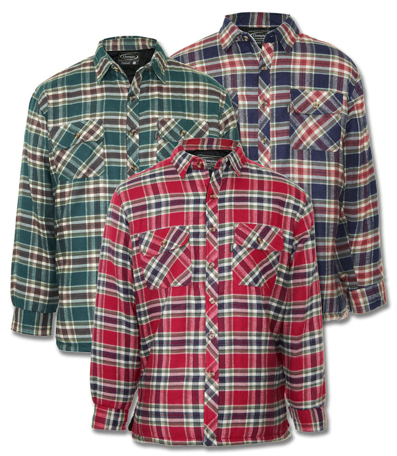 fontwell padded shirt for winter in red and blue green tartan