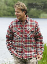 red tartan lined farm shirt