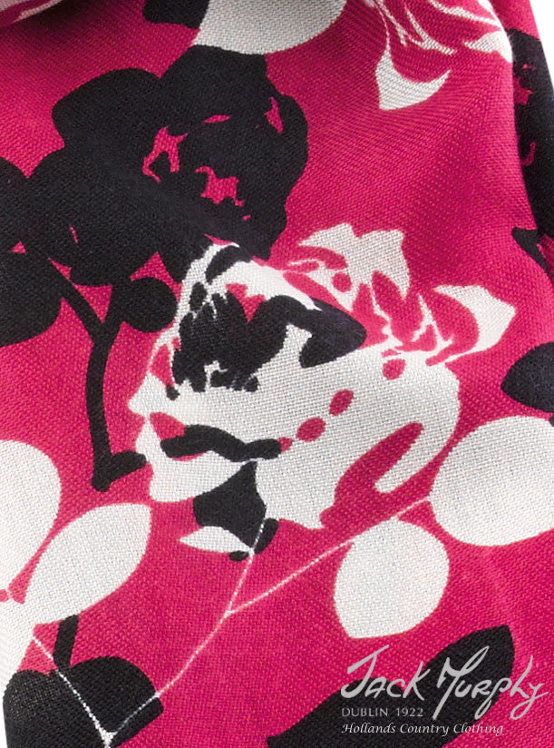 rose design close up French Cruisewear Scarf with Deep Pink Floral Design