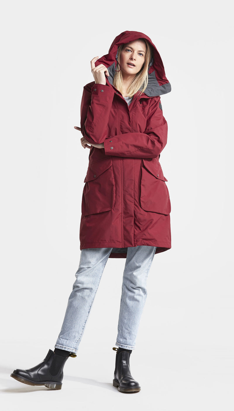 REd Parka with hood up