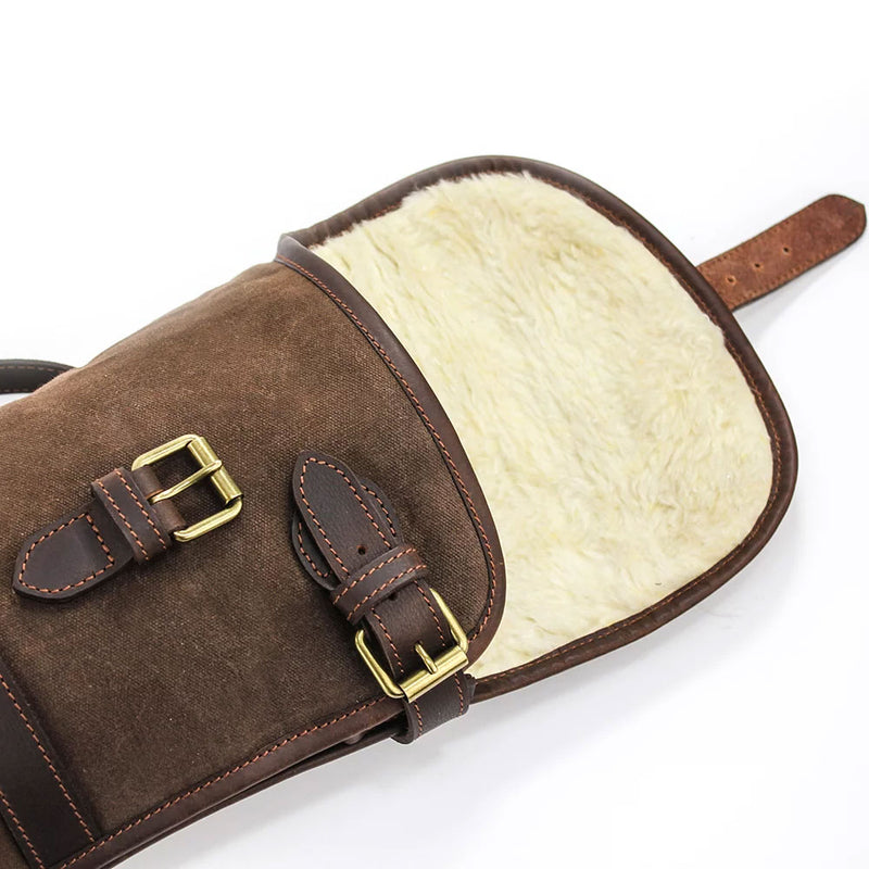 Fur Lined Waxed Canvas Gun Slip by The British Bag Company