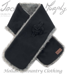 Jack Murphy Gatsby Fleece and Faux Fur Scarf in black