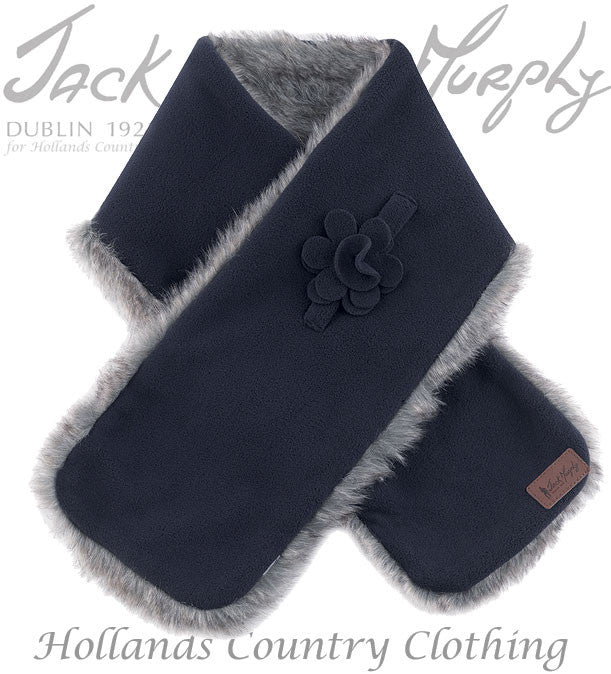 Jack Murphy Gatsby Fleece and Faux Fur Scarfin blue