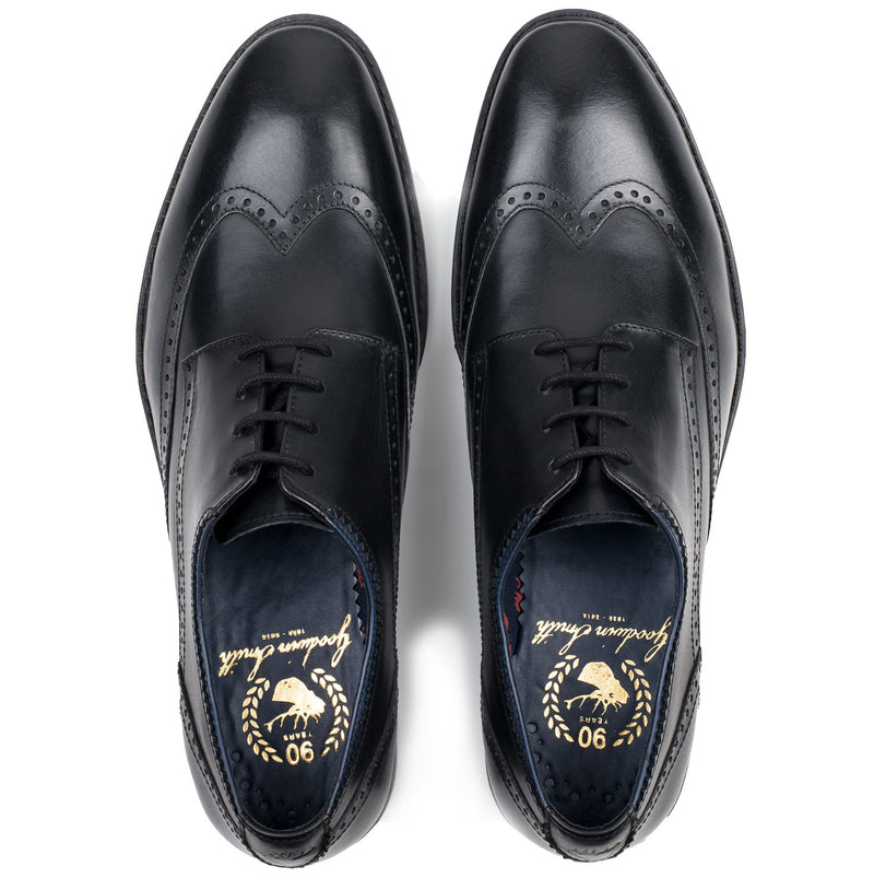The unmistakable, classic wingtip - a shoe with a toecap having a backward-extending point and curving sides,