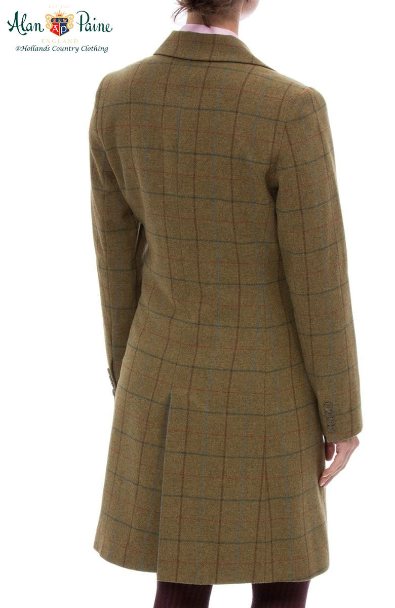 Back view Alan Paine Combrook Mid-Length Tweed Coat | Gorse