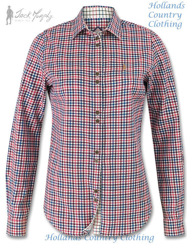 Jack Murphy Gracie Ladies Cotton Shirt	in Npales pink check