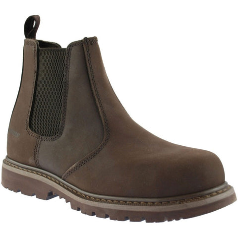 Grafters Brown Leather Safety Dealer Boot steel toe with elastic pull on gussets