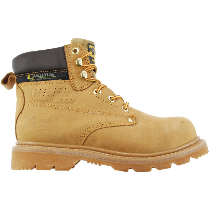 The ever popular Grafters safety boot in a golden honey nubuck leather.