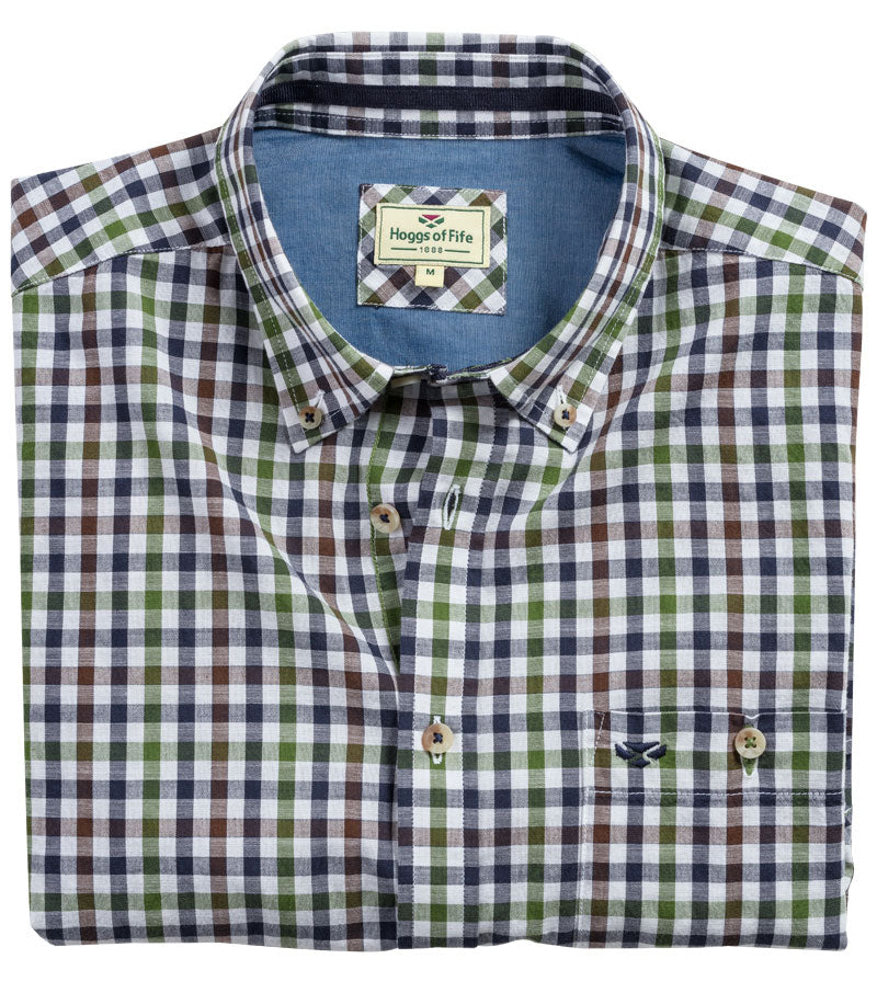 Hoggs country check shirt in blue and navy diamond check