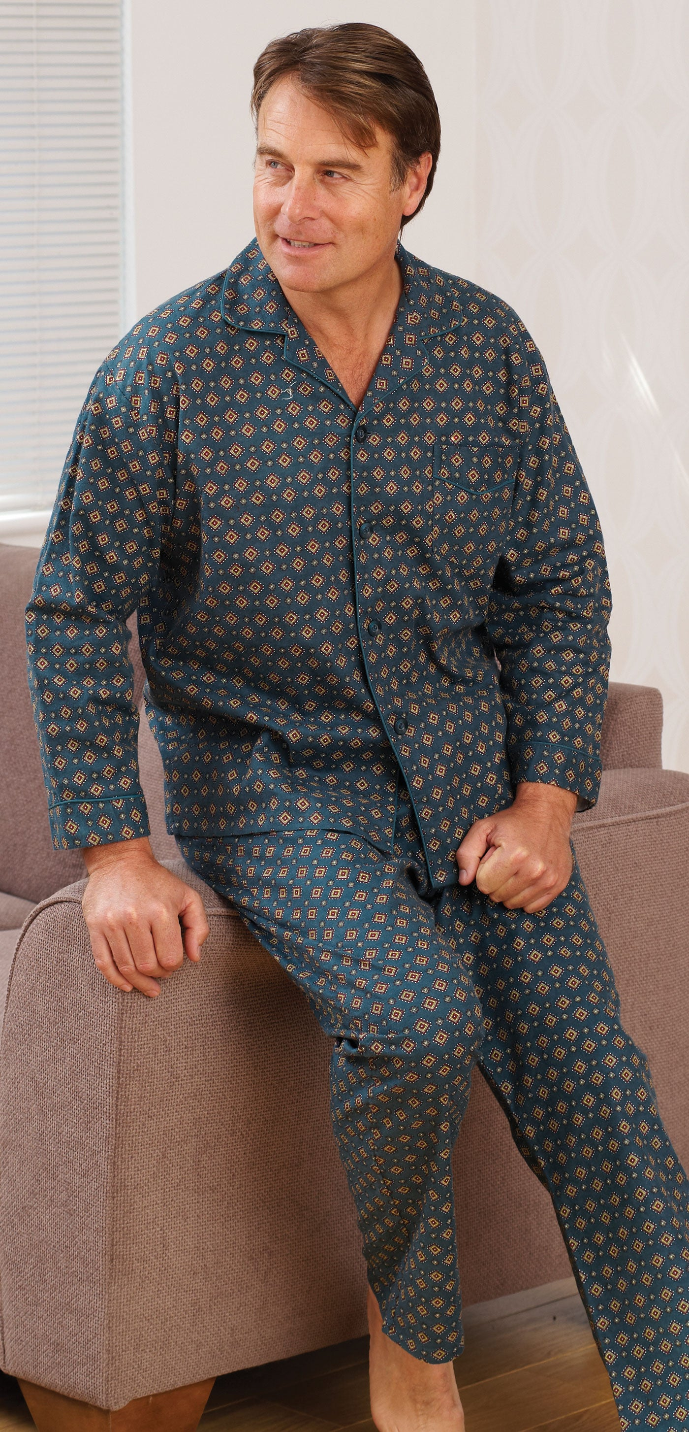 man's diamond pattern pyjamas from blue sea