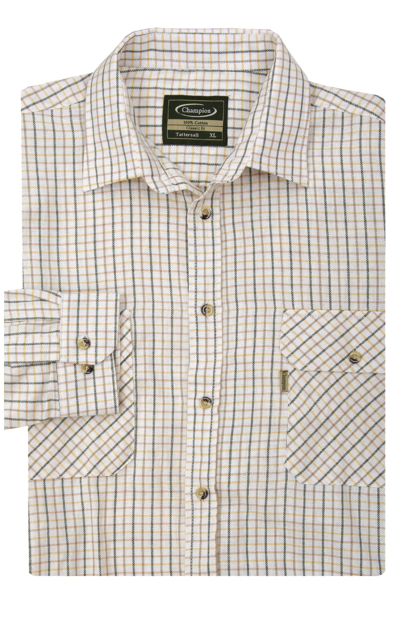 green brown Champion Tattersall Shirt, the classic country check shirt