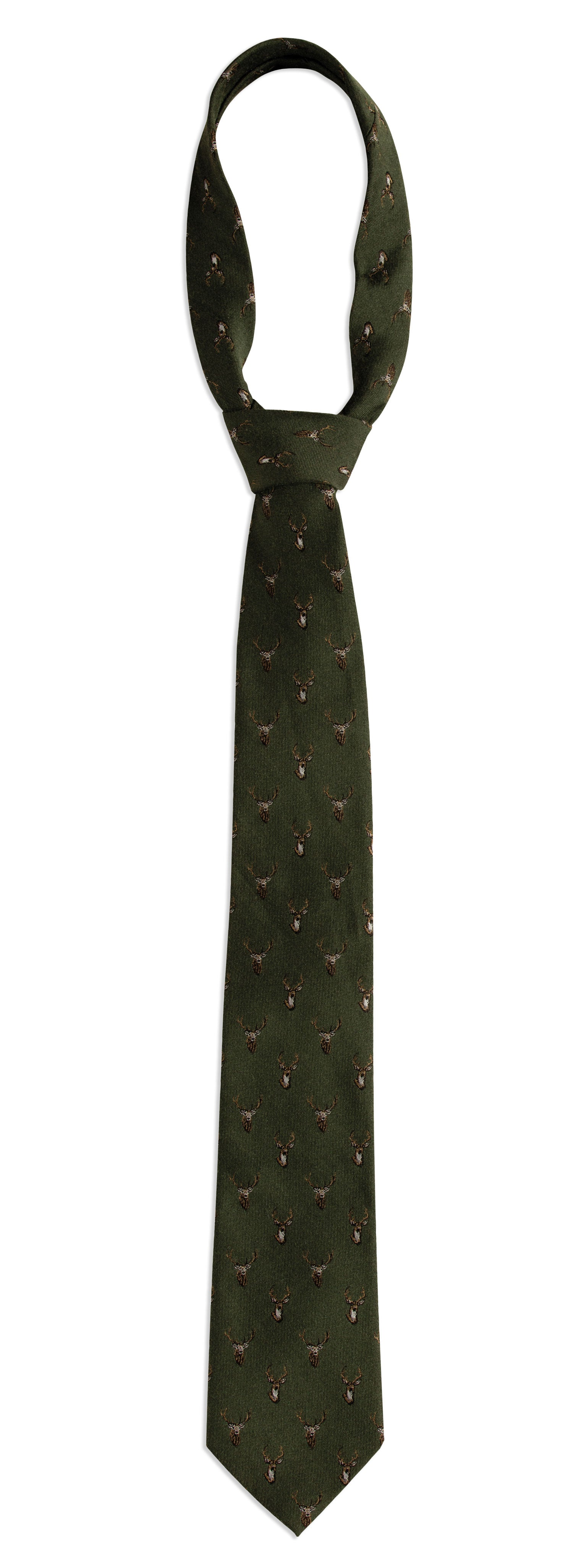Garden Green Deerhunter Stag Silk/Wool Tie