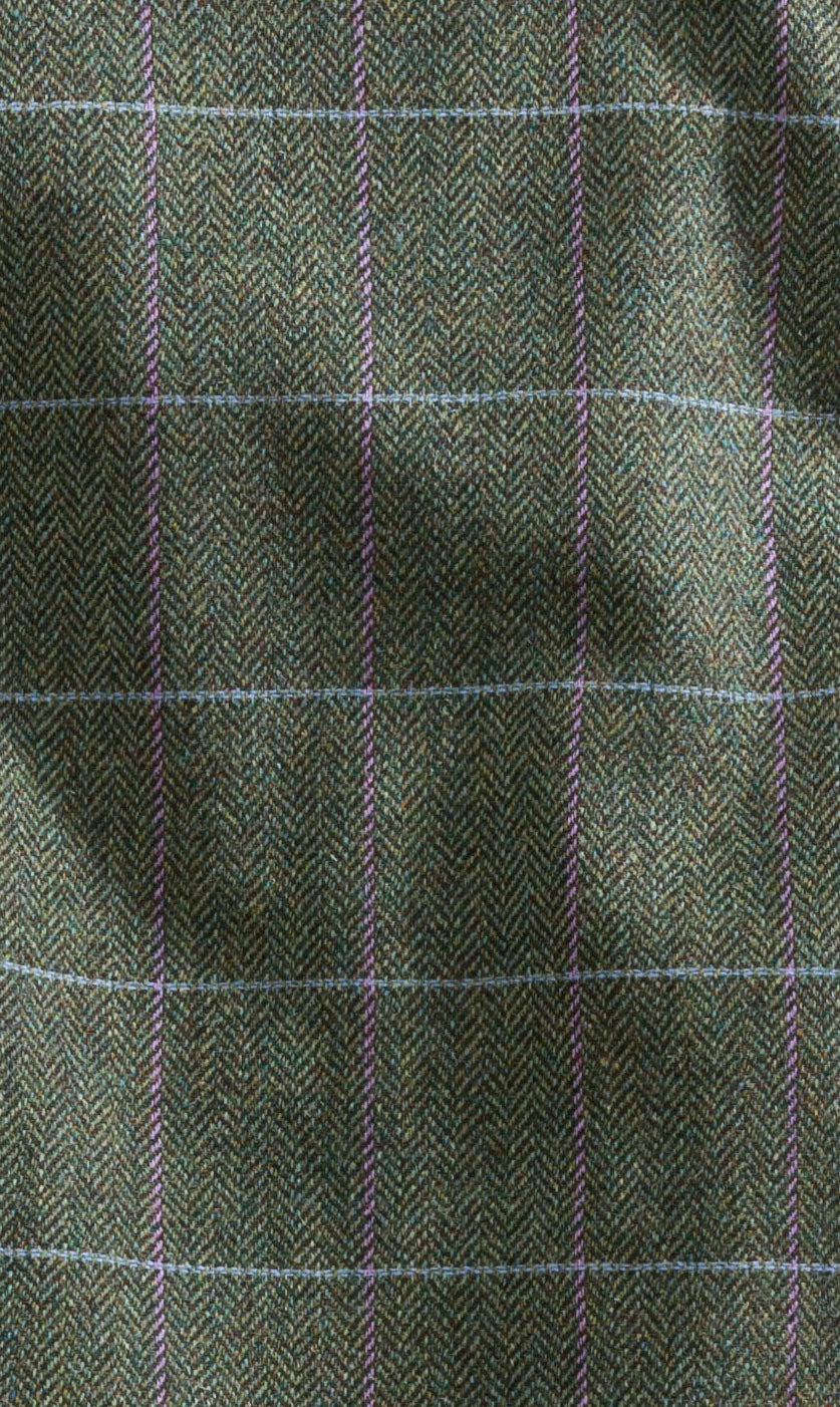 853c6b0af95b4 Features a feminine, herringbone pattern in a mild green with sky blue and  lilac over. Hoggs of Fife Albany Tweed Shooting Jacket Hoggs Albany ...