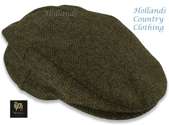 Chapman Cap by Heather hats Shetland Wool Tweed Cap  in Green Herringbone pattern