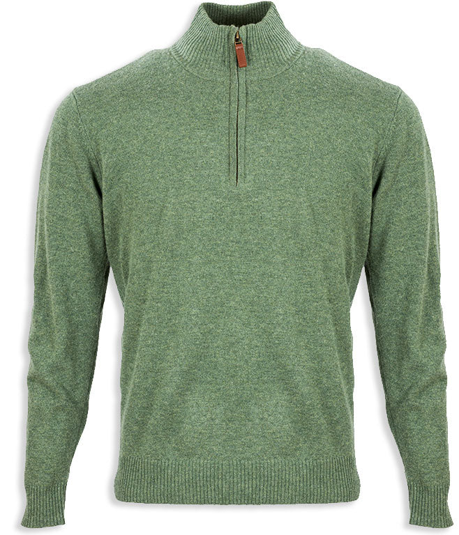 Green Aran Merino Wool Zip Neck Sweater