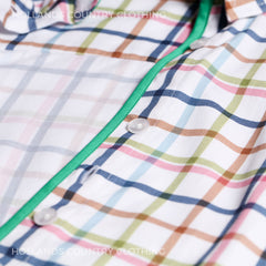 Pink Green Gold Blue Tattersall Check