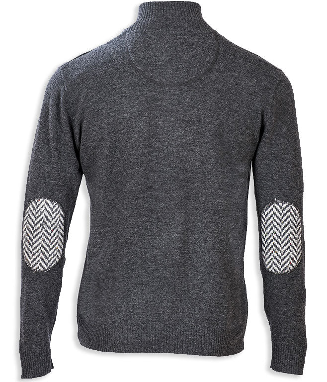 rear view Aran Merino Wool Zip Neck Sweater grey