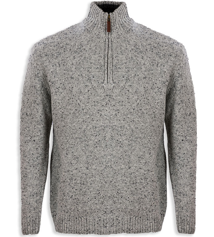 grey Aran Wool Zip Neck Sweater