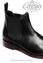 detail of chelsea boot gusset Catesby Black  All Leather Dealer / Chelsea Boot