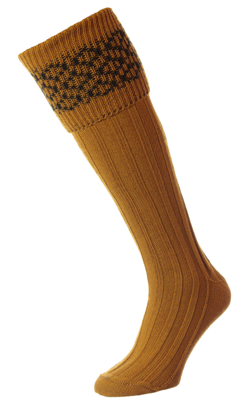 Mustard HJ Hall Cushion Foot Shooting Sock | Patterned Top